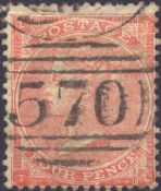 1863 4d Pale Red SG82 Plate 4 'TL'